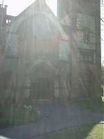A church on Bounds Green Road. The sunlight makes it seem like a Philip Larkin poem.