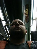 I always look stern and moody on public transport. I am neither here nor there.