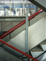 The zig zag stairs at South Quay station